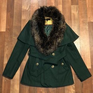 Steve Madden fur trimmed wool Pea coat